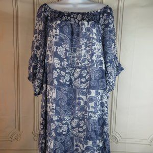 Paisley Dress Fully Lined and Off the Shoulder